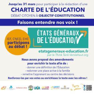 Read more about the article CHARTE DE L'ÉDUCATION – DÉBAT CITOYEN À OBJECTIF CONSTITUTIONNEL